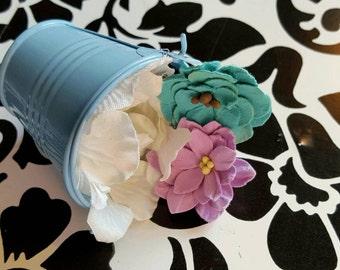 Bucket of flowers fascinator hat headpiece