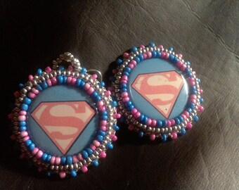Superman Seed Beaded Earrings