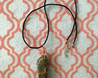 Wire Wrapped jasper stone pendant