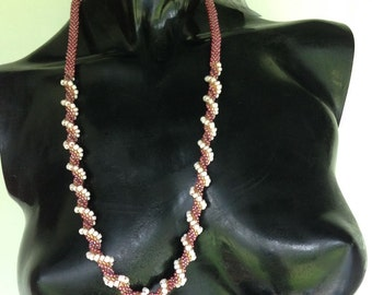 Pink/White/Gold Bead Crochet Rope Necklace