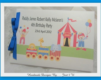 PERSONALISED Circus birthday scrapbook album or guest book