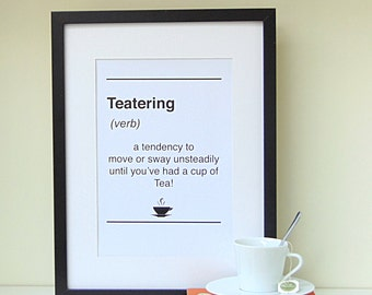 Dictionary Style Tea Print|Tea lovers Gift|Typography Print