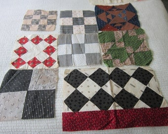 9 Assorted Quilt Blocks 1890-1930s Fabrics