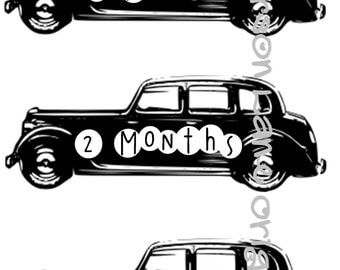 Vintage Car Monthly Baby Buttons - Month Signs for DIY - DIGITAL IMAGES Only - Baby Boy Monogram, Baby Shower Gift, Car Monogram, Milestones