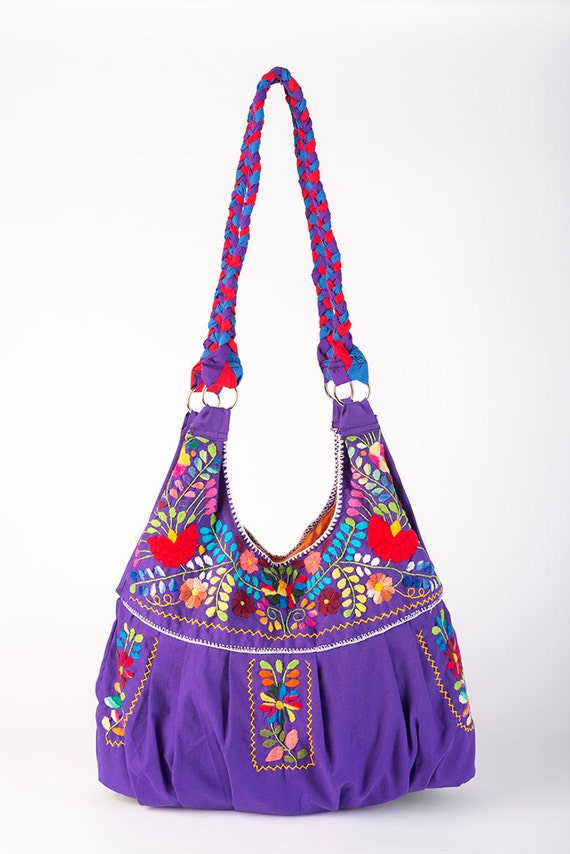 Mexican bag embroidered huipil by rojoturquesa
