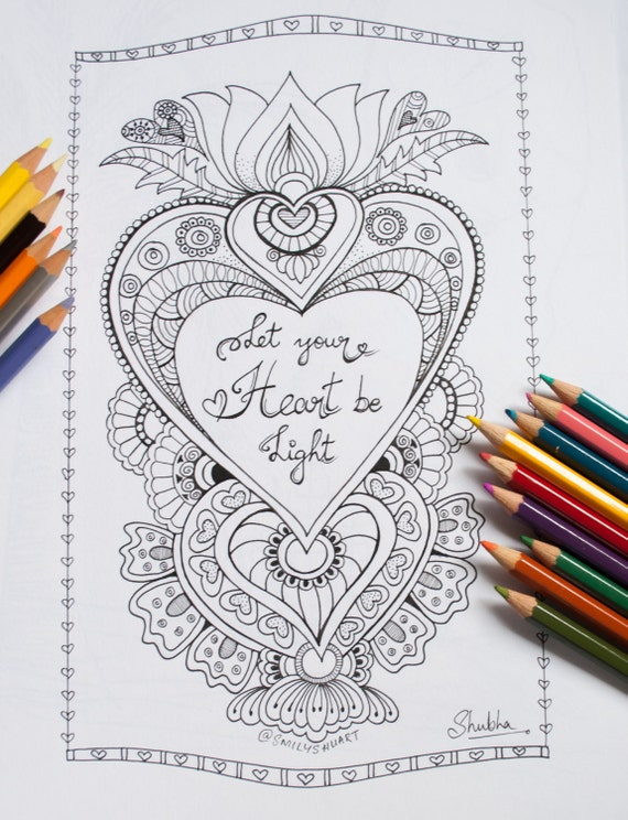 let there be light coloring page - let your heart be light printable adult coloring page