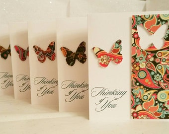 Thinking of You Paisley Pop Cards (Blank Inside), Set of 5