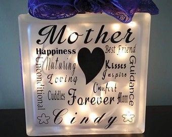Glass Block, Lighted glass block, gift for mom, mother's day gift, gift for her, anniversary gift, mom gift, night light, lamp, home decor