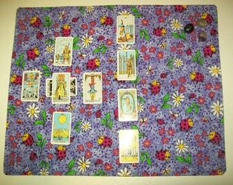 """Colorful whimsical double sided approx. 17"""" x 20.5"""" Tarot Runes Cloth.  purple flannel lady bug daisy  print"""