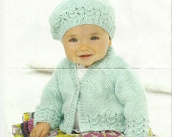 Sirdar Childs Cardigan and Beret Knitting Pattern 0 - 7 years.