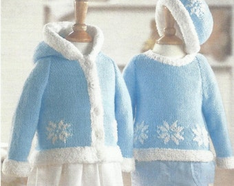 Baby / Childs CHRISTMAS Sweater, Hooded Jacket & Hat Knitting Pattern 16/26 INCH