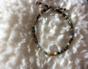 Semiprecious, cube multi-gem and brass spacer necklace
