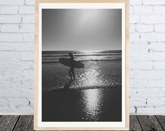 Black white Surfer Girl Print - Photo Poster Portugal - multicolor - different sizes - download files for printing