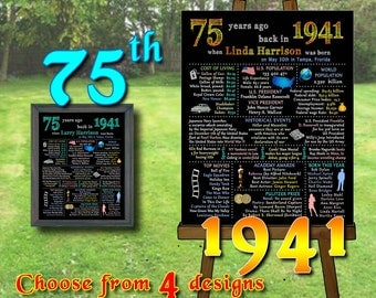 75th Birthday Chalkboard, 1941 Chalkboard Poster, 75 Years Ago in 1941, 75th Birthday Gift,Personalized, Printable Digital file (#112)