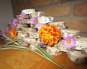 """Rustic Wood coasters 2"""" width 0.6""""- Wedding Coasters - Wood Slices - Tree Slices - Christmas table decor - on SALE"""