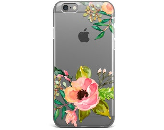 iPhone 7 Case Clear floral, iPhone 7 Plus case clear, Summer phone case, iPhone 6 /6S Plus Case clear, iPhone 5 /5S /SE Case Clear floral
