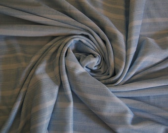 "Over 2 Yds Light Blue and White Stripped Polyester Blend Fabric  78"" X 60"" Thin 1 Way Stretch Slight Sheen"
