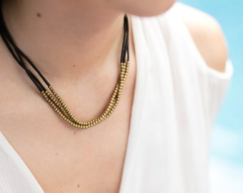 Brass BeadsAnd Brown 3 string Necklace  N-1