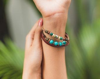 Leather bracelet- Turquoise And Mosaic Beads bracelet - Womens Bracelet- LB20