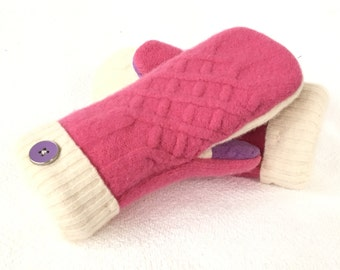 Pink, purple, cream, Wool Mittens, Felted Wool, Sweater Mittens, Women's Mittens, Fleece Lined Mittens, Gift, Recycled Sweater Mittens