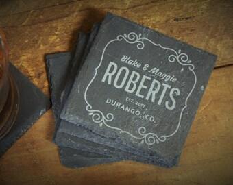 Custom Coasters, House Warming Gift, Bride Groom Gift, Slate Coasters, Wedding Gift, Custom Coaster Gift, Slate Gift - Set of 4 - LES1000065