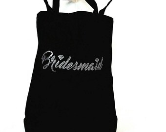 Bridesmaid gift - Personalized Tote - Wedding Gift - Personalized Wedding Gift -Medium tote - Black Tote -Sparkle Tote- Women's handbag