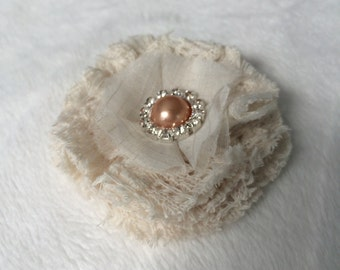 Shabby chic lace flower hair clip or a brooch