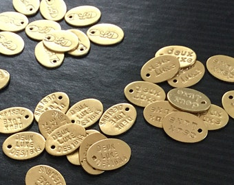 Gold Toned Handstamped Custom Jewelry Design Tags