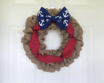 READY TO SHIP American Flag Burlap Wreath