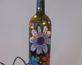 wild garden illuminated wine bottle