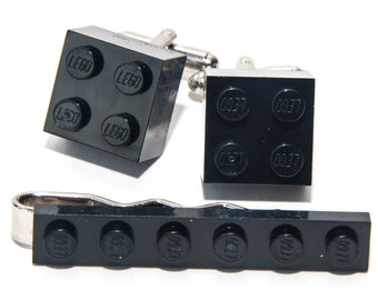 Black Lego Brick Cufflinks and Lego Plate Tie Clip  Handmade Cuff links