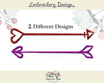 Heart Arrow Satin Stitch, 2 pack, Embroidery Design