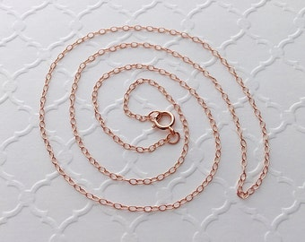Rose Gold Filled Cable Chain / 14k Rose Gold Fill Finished Chain Necklace / 18 inch / Wholesale Rose Gold Chain / USA Bulk Jewelry Supplies