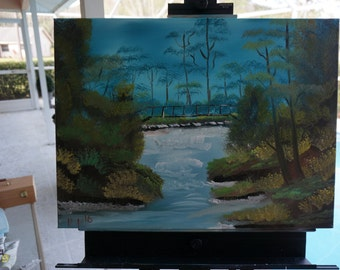 Bob Ross Style Original - Secluded Bridge