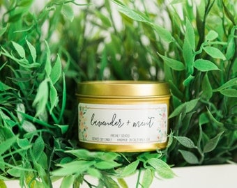 Soy Candles | Lavender and Mint Candle | Fall & Winter Scented Candles | Rustic Home Décor | Lavender and Mint Scent