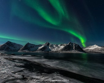 Northern Lights photograph, Aurora Borealis, northern lights print, Norway, mountains, aurora home decor, landscape,nature, night sky, wall