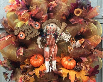 Fall Deco Mesh Wreath, Fall Wreath, Scarecrow Wreath