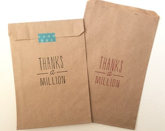 25 Thanks A Million Favor Bags - Birthday Favor Bags - Wedding Favor Bags - Thank You Bags - Candy Bar Paper Bags - Party Favors