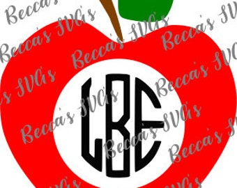 Apple, Monogram, Great Teacher Gift, Celebrate School, Teacher, Apple, Monogram