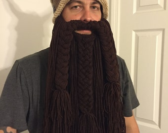 Crochet Viking Hat with Beard, Crochet Viking Hat