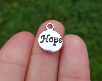 10 Hope Stamped Charm, Zinc Alloy Antique Silver Tone B22195