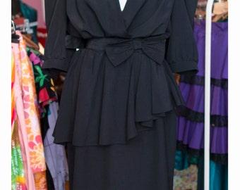 Vintage dress 80s-Vintage black & Withe-bicolor black and white dress-Vintage 80