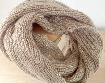 Gold sequined upcycled cowl