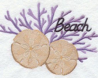 Sanddollars and Coral Shell Hand and Dish Towel Flour sack
