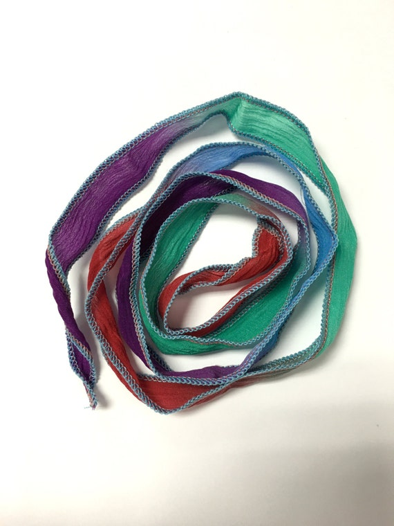 Hand Dyed Silk Ribbon Cool Blend Color 32inch Necklace