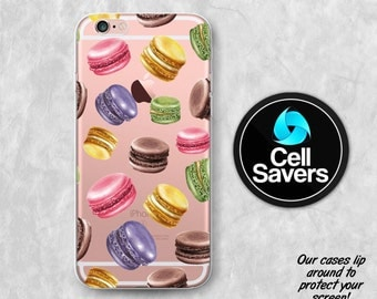 Macaron Clear iPhone 7 iPhone 6s Case iPhone 6 iPhone 6 + iPhone 6s + iPhone 5c iPhone 5 iPhone SE Clear Case French Cookie Macaroon Tumblr