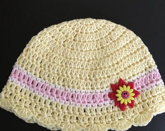100% Cotton Crochet Baby Hat, Handmade Baby Girl Hat, Yellow, Pink And White Girl Hat, Ready To Ship, FREE SHIPPING.