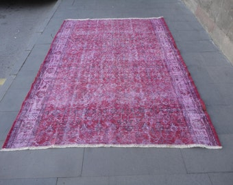 overdyed rug,Overdyed Turkish rug,distressed rug,low pile rug,pinky rug,92'' x 67'' inches,boho rug,over-dye rug,rustic decor,large rug !!!