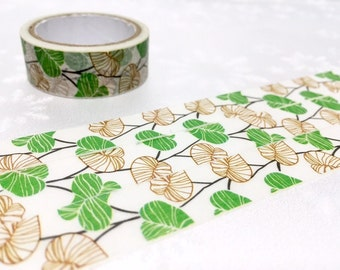Green leaves Washi Masking Tape 5M Autumn leaves Green plant green garden deco sticker tape plant diary gardening planner tape decor gift