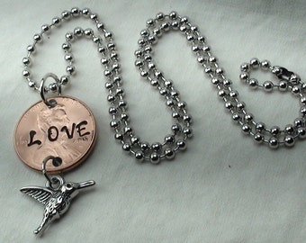 """Lucky Penny Necklace stamped """"LOVE"""" with hummingbird charm, lucky penny, good luck charm, birds, necklace, jewelry with coins, unique gifts"""